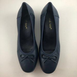 David Tate Leather Shoes Heels Navy #1158